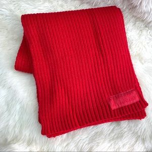 Victoria Secret VS PINK Scarf Logo Red Chunky Knit